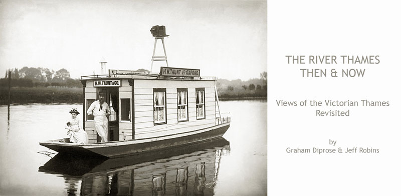 Click on the image of the Victorian photographer to see the book and exhibition of 'The Thames Revisited …in the footsteps of Henry Taunt'; photograph c.1886, Henry Taunt & lady and their houseboat, reproduced by permission of Oxfordshire County Council OCL3